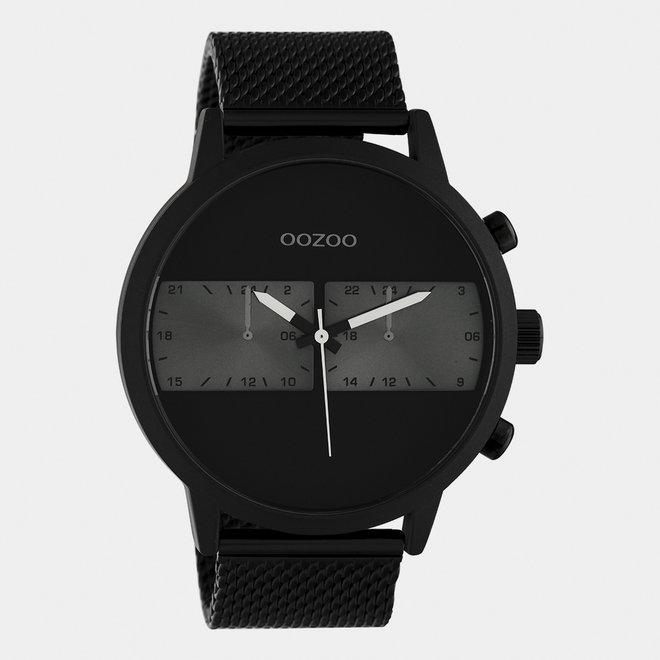 OOZOO Timepieces - C10514 - Herren - Edelstahl-Mesh-Armband - Schwarz/Schwarz