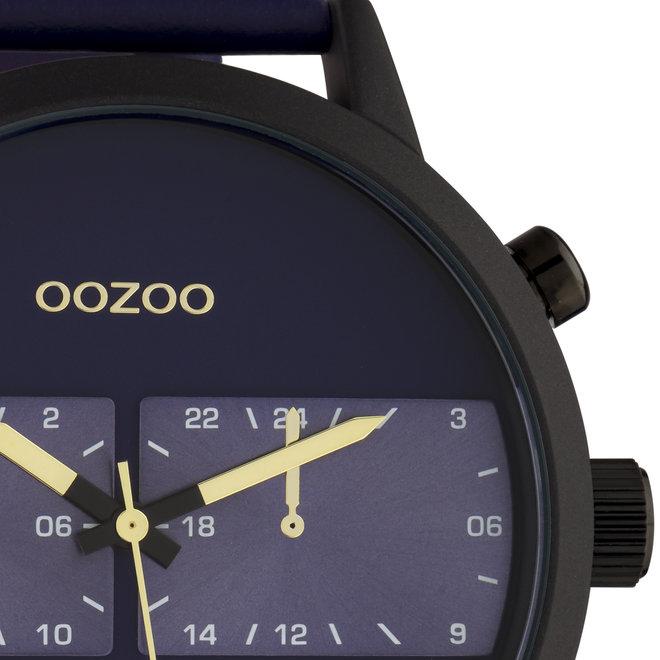 OOZOO Timepieces - Herren - Leder-Armband - Blau/Schwarz