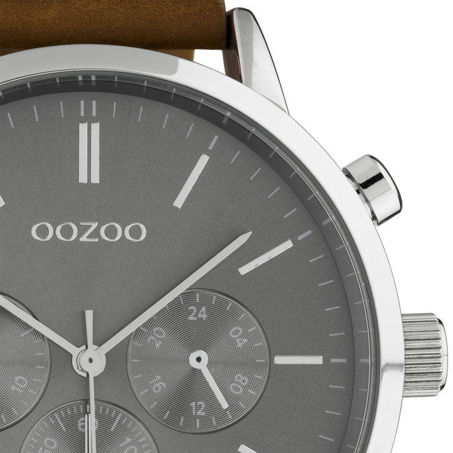 OOZOO Timepieces - C10541 - Herren - Leder-Armband - Braun/Silber