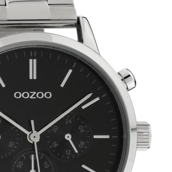 OOZOO Timepieces - C10546 - Unisex - Edelstahl-Glieder-Armband - Silber/Schwarz