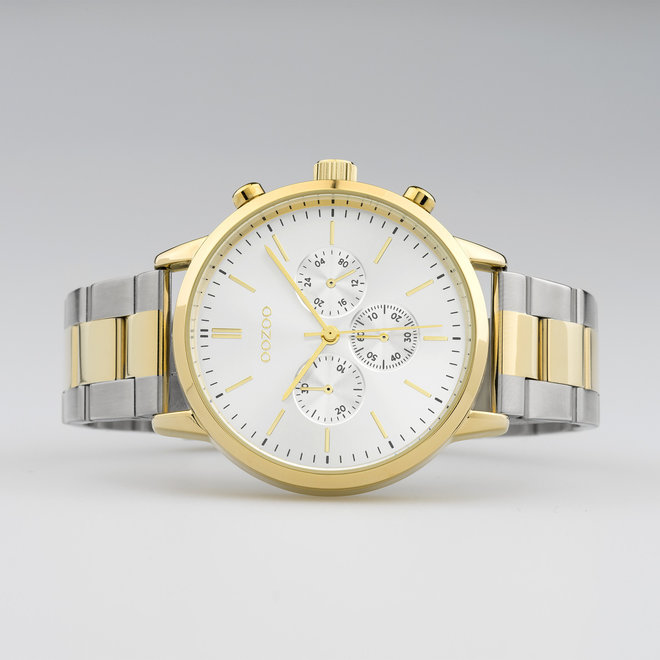 OOZOO Timepieces - Unisex - Edelstahl-Glieder-Armband - Silber/Gold