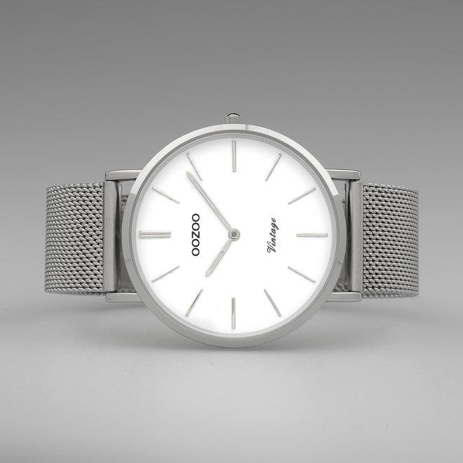 OOZOO Vintage - C9900 - Herren - Edelstahl-Mesh-Armband - Silber/Weiß