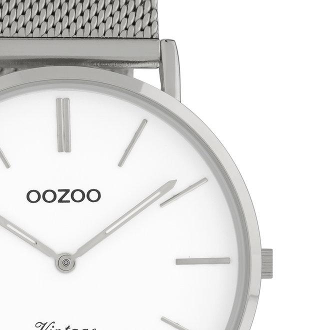 OOZOO Vintage - Unisex - Edelstahl-Mesh-Armband - Silber/Weiß