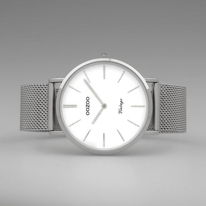 OOZOO Vintage - C9901 - Damen - Edelstahl-Mesh-Armband - Silber/Weiß