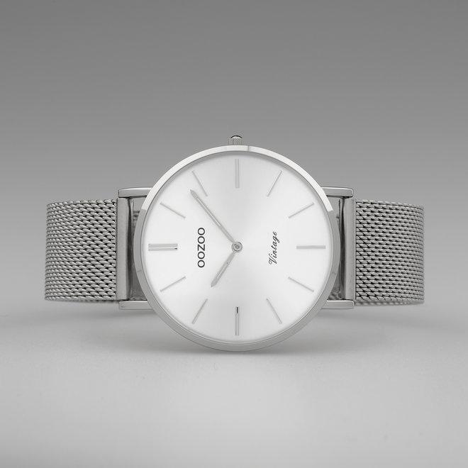 OOZOO Vintage - C9907 - Damen - Edelstahl-Mesh-Armband - Silber/Silber
