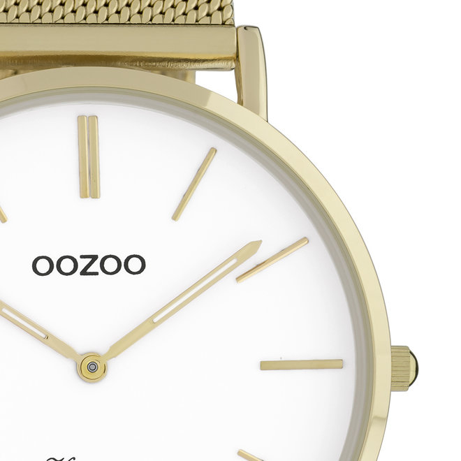 OOZOO Vintage - C9908 - Unisex - Edelstahl-Mesh-Armband - Gold/Weiß