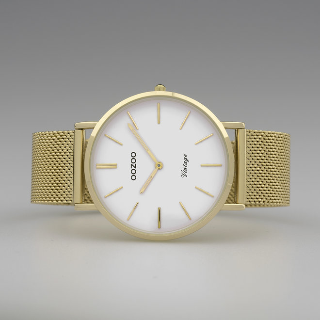 OOZOO Vintage - C9909 - Unisex - Edelstahl-Mesh-Armband - Gold/Weiß