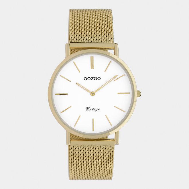 OOZOO Vintage - C9910 - Unisex - Edelstahl-Mesh-Armband - Gold/Weiß