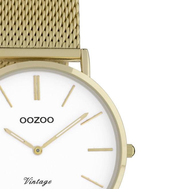 OOZOO Vintage - C9911 - Damen - Edelstahl-Mesh-Armband - Gold/Weiß
