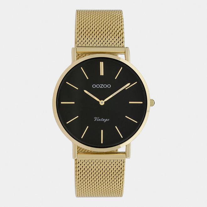 OOZOO Vintage - C9914 - Damen - Edelstahl-Mesh-Armband - Gold/Schwarz