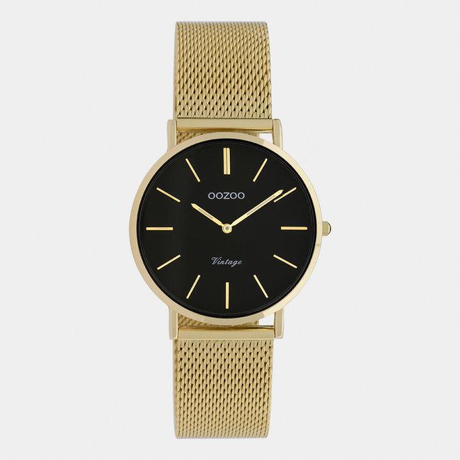 OOZOO Vintage - C9915 - Damen - Edelstahl-Mesh-Armband - Gold/Schwarz