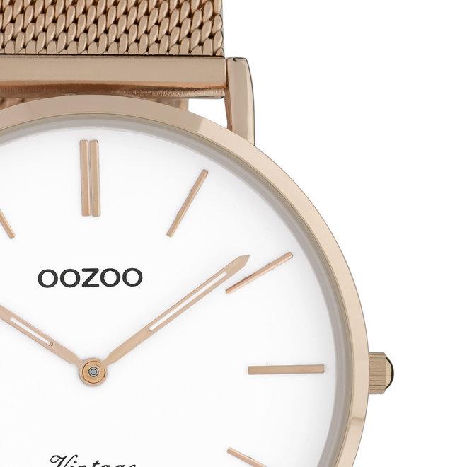 OOZOO Vintage - Unisex - Edelstahl-Mesh-Armband - Roségold/Weiß