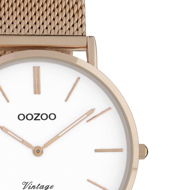 OOZOO Vintage - C9918 -Unisex - Edelstahl-Mesh-Armband - Roségold/Weiß