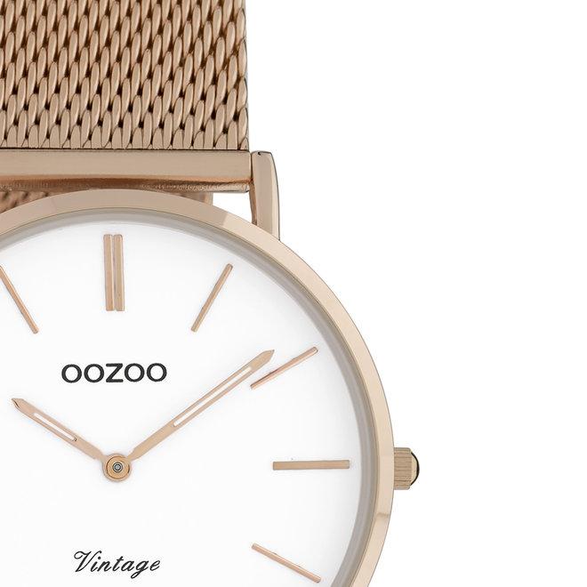 OOZOO Vintage - C9919 - Unisex - Edelstahl-Mesh-Armband - Roségold/Weiß