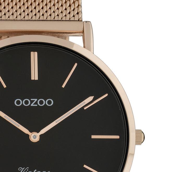OOZOO Vintage - C9925 - Unisex - Edelstahl-Mesh-Armband - Roségold/Schwarz