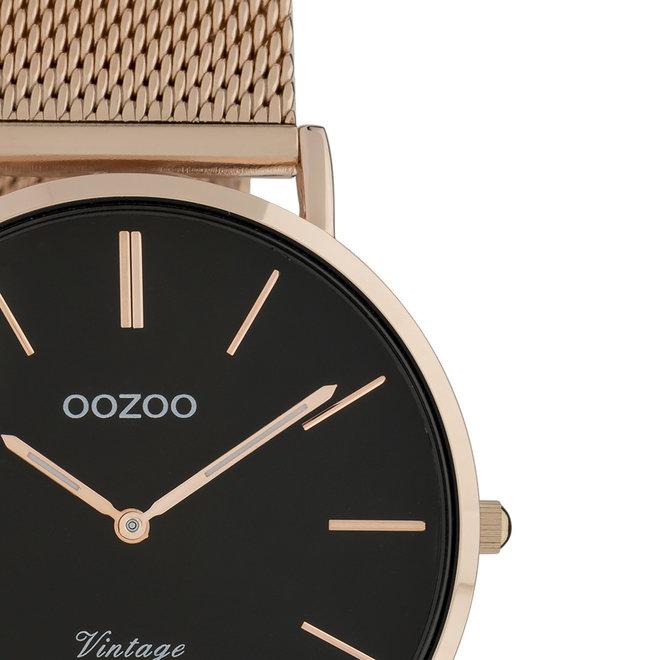 OOZOO Vintage - Unisex - Edelstahl-Mesh-Armband - Roségold/Schwarz