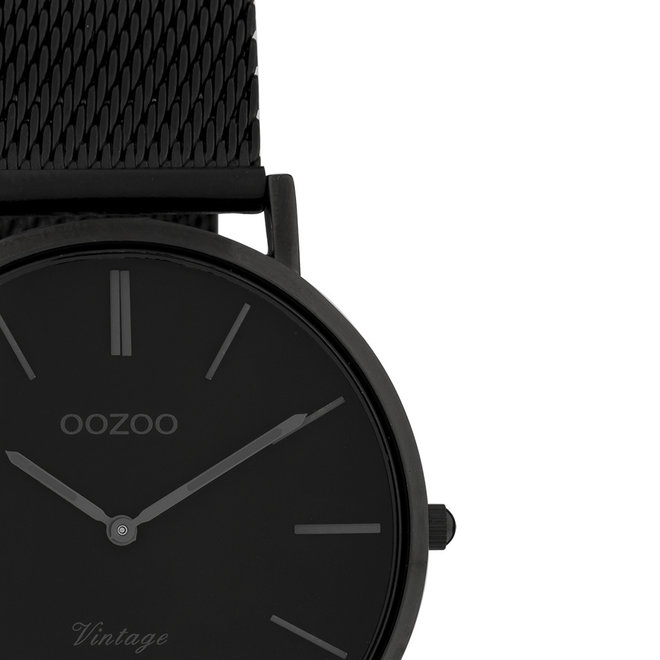 OOZOO Vintage - Unisex - Edelstahl-Mesh-Armband - Schwarz