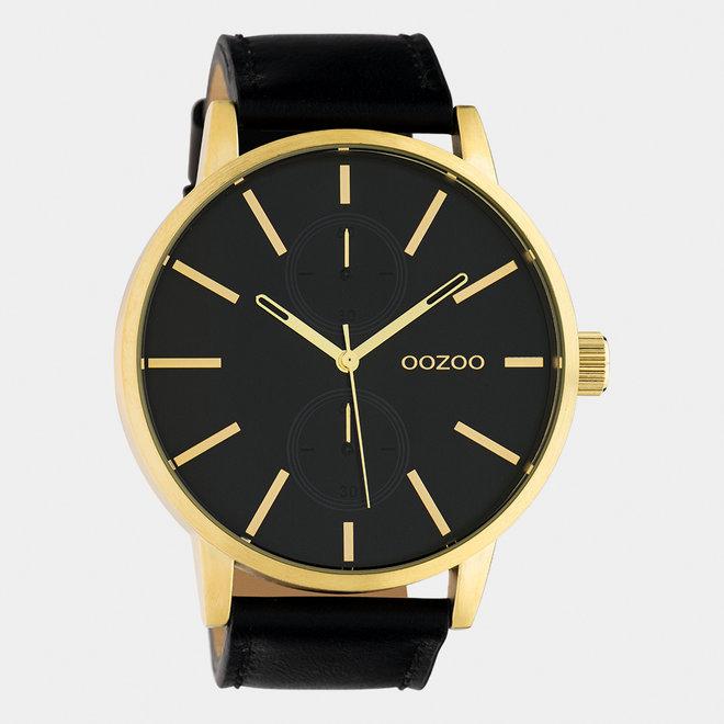 OOZOO Timepieces - Herren - Leder-Armband -  Schwarz/Gold