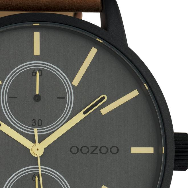 OOZOO Timepieces - Herren - Leder-Armband -  Braun/Schwarz