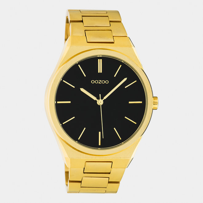 OOZOO Timepieces - Unisex - Edelstahl-Glieder-Armband -  Gold/Schwarz