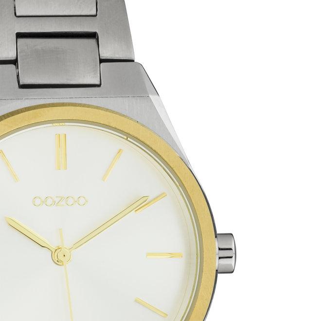 Unisex - Edelstahl - Glieder-Armband -  Silber/Gold