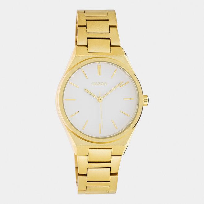 OOZOO Timepieces - Unisex - Edelstahl-Glieder-Armband -  Gold/Weiß
