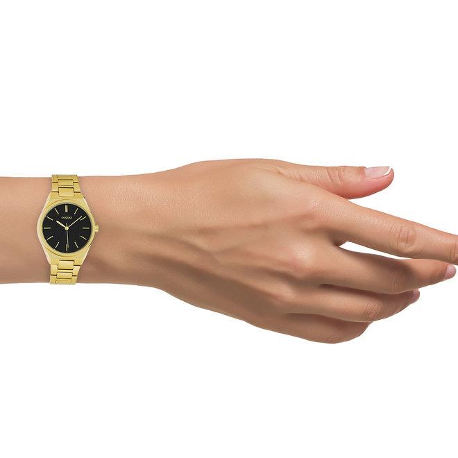 OOZOO Timepieces - Unisex  - Edelstahl - Glieder-Armband -  Gold/Schwarz