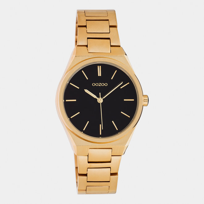 OOZOO Timepieces - Unisex - Edelstahl-Glieder-Armband -  Roségold/Schwarz