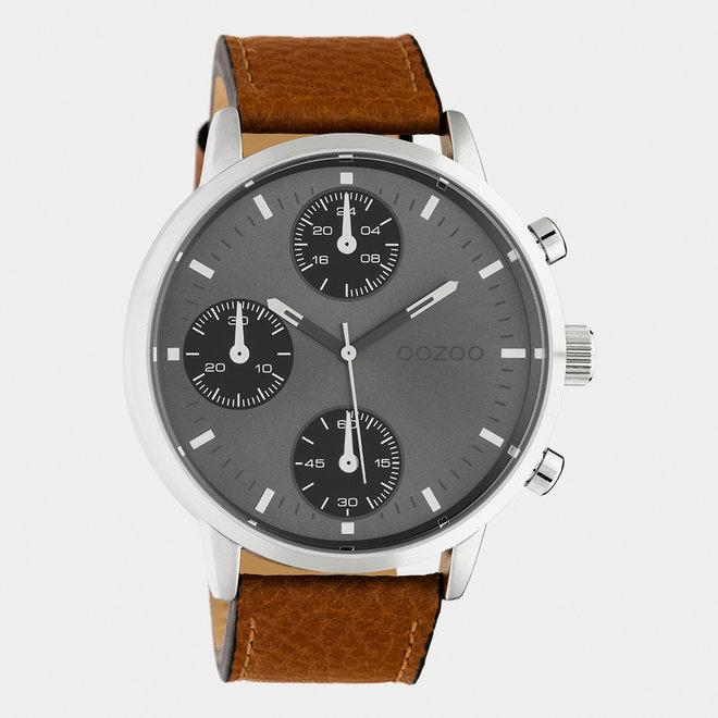 OOZOO Timepieces - C10530 - Herren - Leder-Armband - Braun/Silber