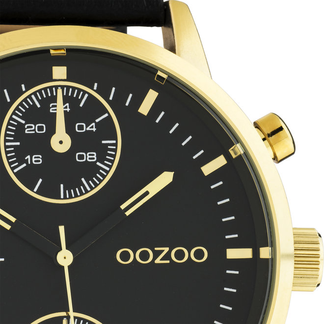 OOZOO Timepieces - C10531 - Herren - Leder-Armband - Schwarz/Gold