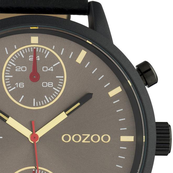 OOZOO Timepieces - C10532 - Herren - Leder-Armband - Schwarz/Schwarz