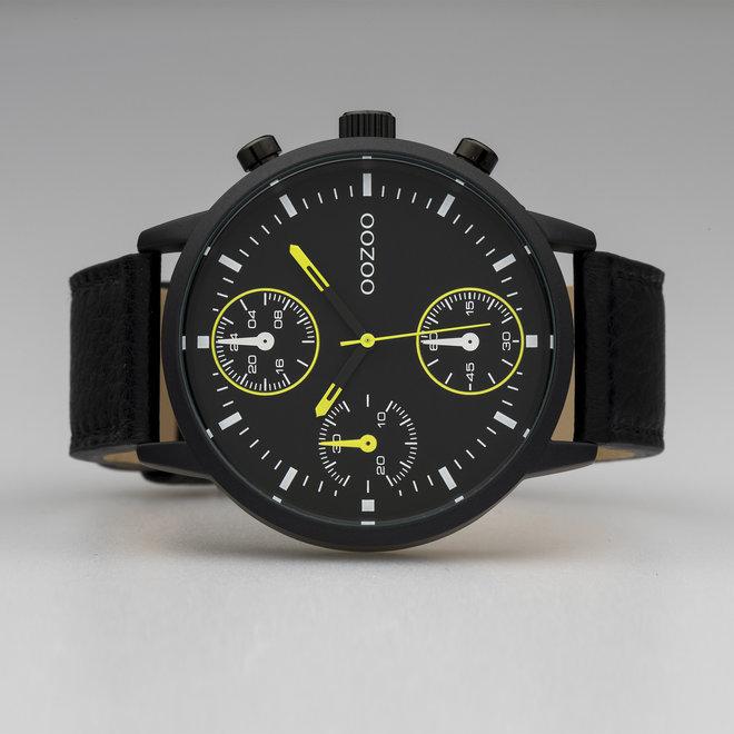OOZOO Timepieces - C10534 - Herren - Leder-Armband - Schwarz/Schwarz