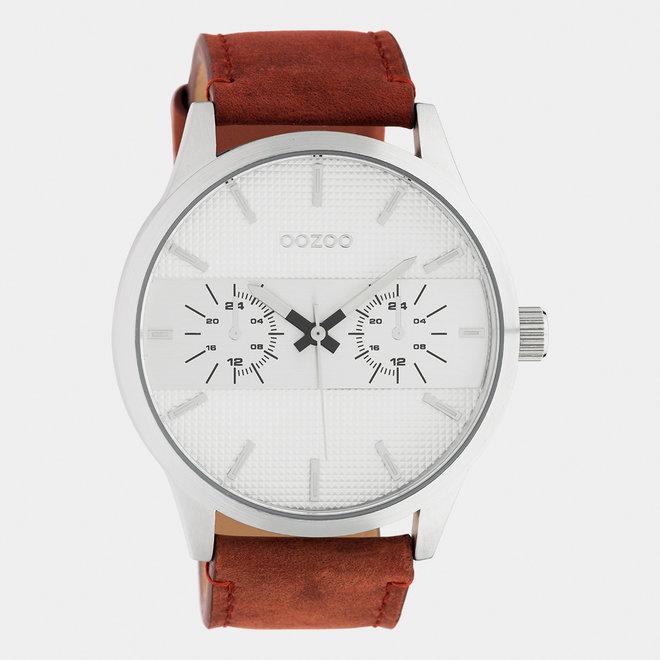 OOZOO Timepieces - C10535 - Herren - Leder-Armband -  Cognac/Silber