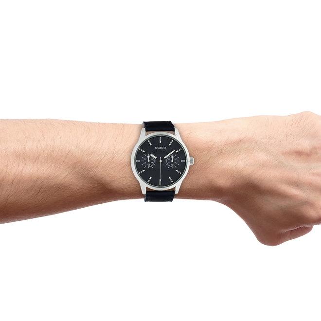 OOZOO Timepieces - C10536 - Herren - Leder-Armband - Dunkelblau/Silber