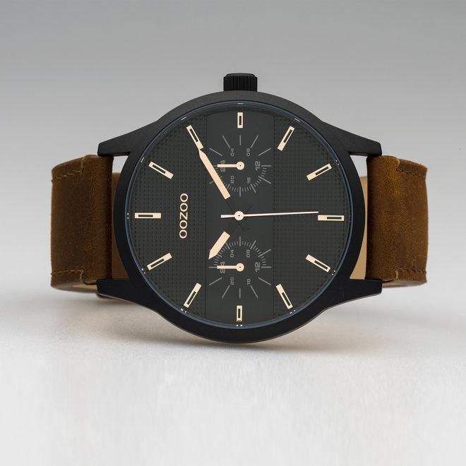 OOZOO Timepieces - C10538 - Herren - Leder-Armband -  Braun/Schwarz