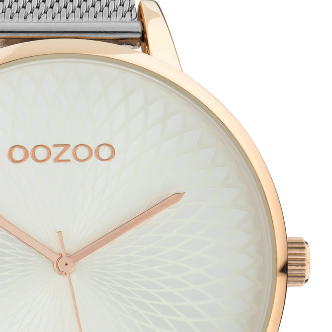 OOZOO Timepieces - C10551 - Damen - Edelstahl-Mesh-Armband -  Silber/Roségold
