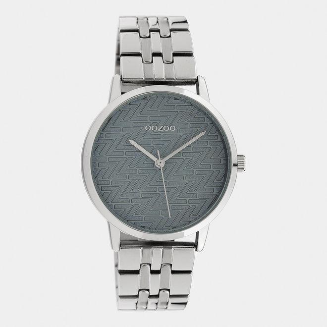 OOZOO Timepieces - C10555 - Damen - Edelstahl-Glieder-Armband - Silber/Grau