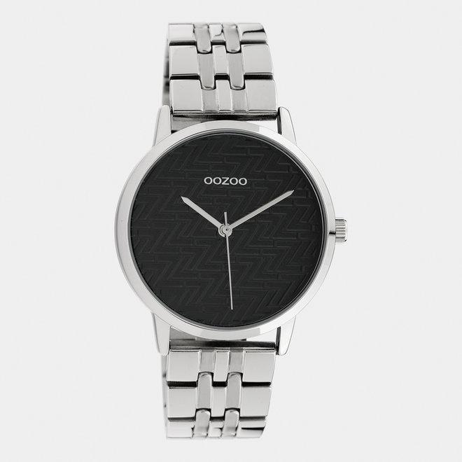 OOZOO Timepieces - C10556 -  Damen - Edelstahl-Glieder-Armband - Silber/Schwarz