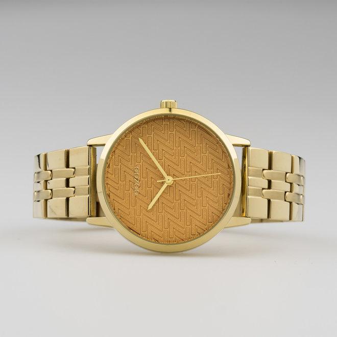 OOZOO Timepieces - C10557 - Damen - Edelstahl-Glieder-Armband - Gold/Gold