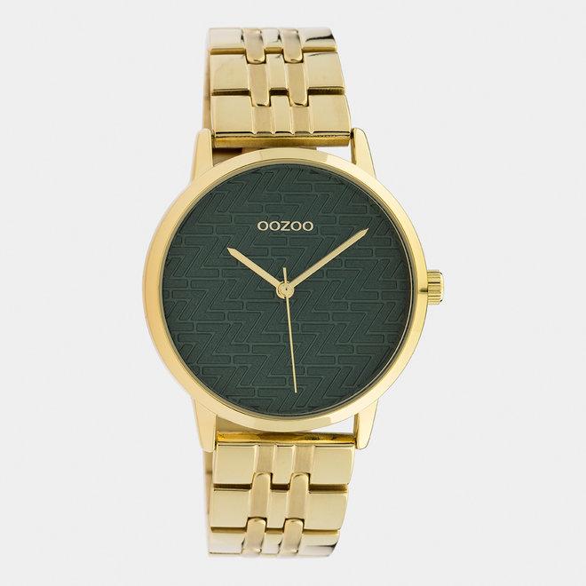 OOZOO Timepieces - C10558 - Damen - Edelstahl-Glieder-Armband - Gold/Grün