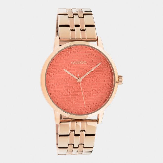 OOZOO Timepieces - C10559 - Damen - Edelstahl-Glieder-Armband - Roségold/Orange
