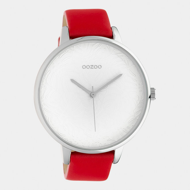 OOZOO Timepieces - C10570 - Damen - Leder-Armband - Rot/Silber