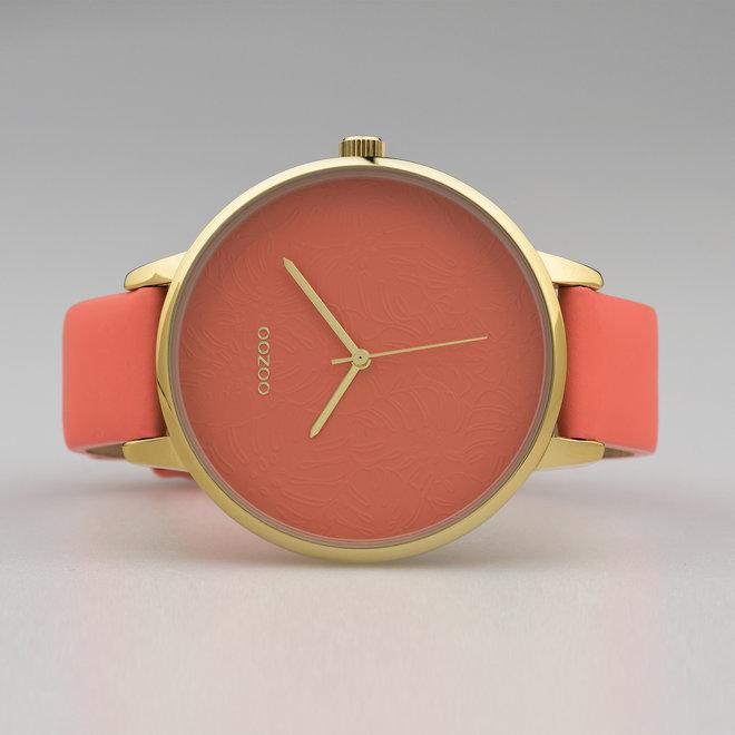OOZOO Timepieces - C10572 - Damen - Leder-Armband - Korallrot/Gold