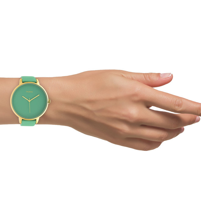 OOZOO Timepieces - C10573 - Damen - Leder-Armband - Biscay Grün/Gold