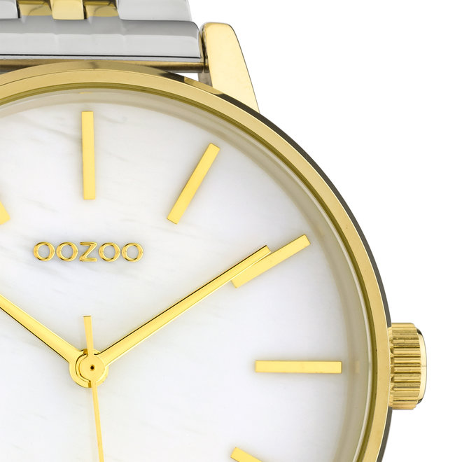 OOZOO Timepieces - Unisex - Edelstahl-Glieder-Armband - Bicolor/Silber