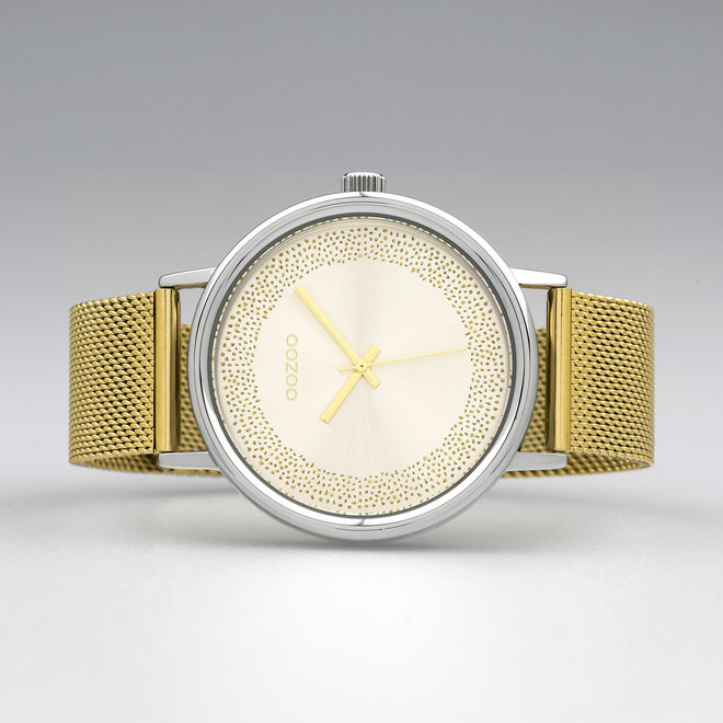 OOZOO Timepieces - ladies  - mesh strap gold  with silver  watch case