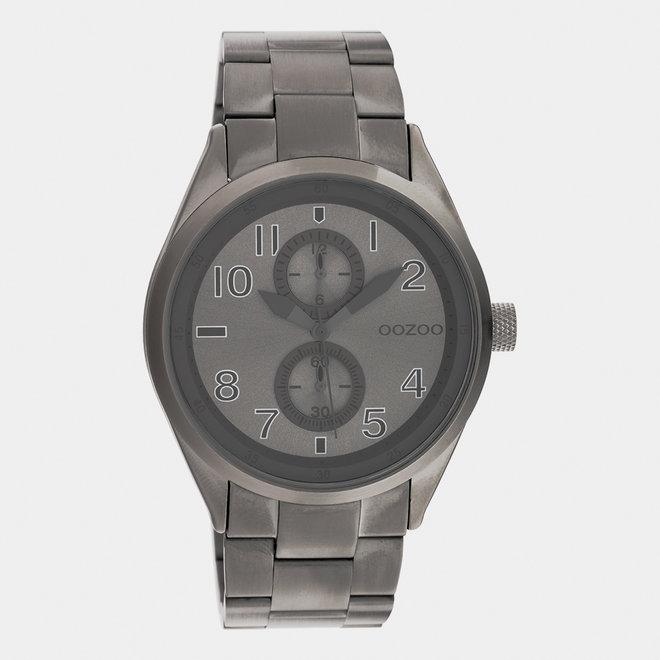 OOZOO Timepieces - C10633 -  Unisex - Edelstahl-Glieder-Armband - Titan/Silber