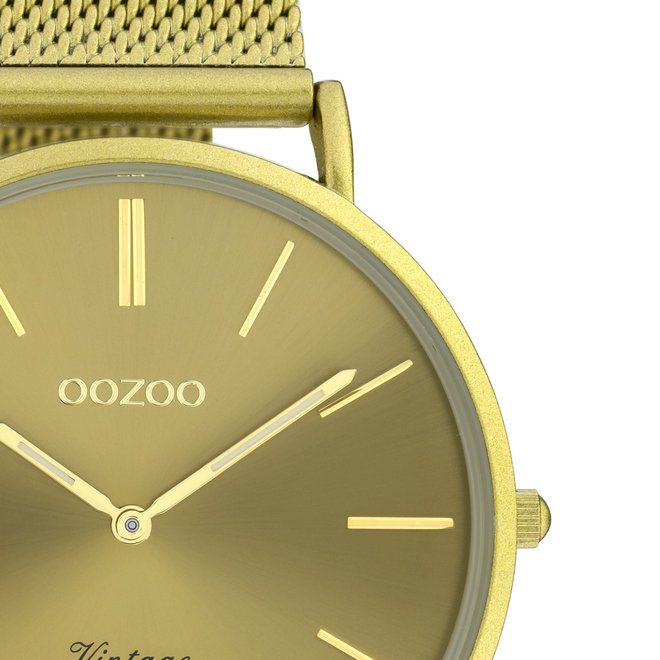 OOZOO Vintage - C20000 - Unisexuhr - Edelstahl-Mesh-Armband –Senfgelb