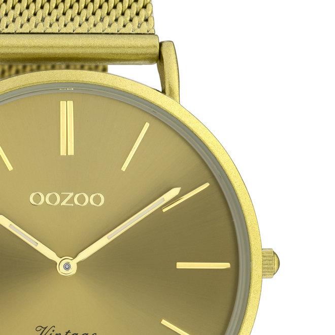 OOZOO Vintage - C20001 - Unisexuhr - Edelstahl-Mesh-Armband –Senfgelb