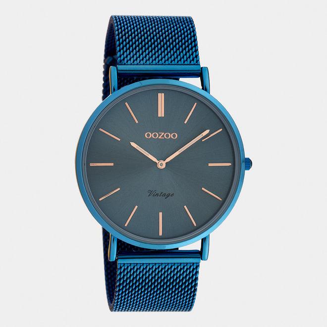 OOZOO Vintage - C20002 - Unisexuhr - Edelstahl-Mesh-Armband –Blau